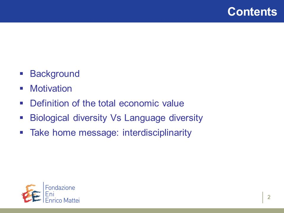 Contents Background Motivation Definition of the total economic value