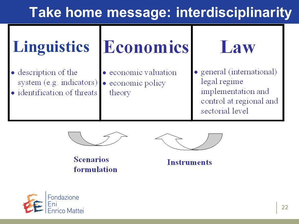 Take home message: interdisciplinarity