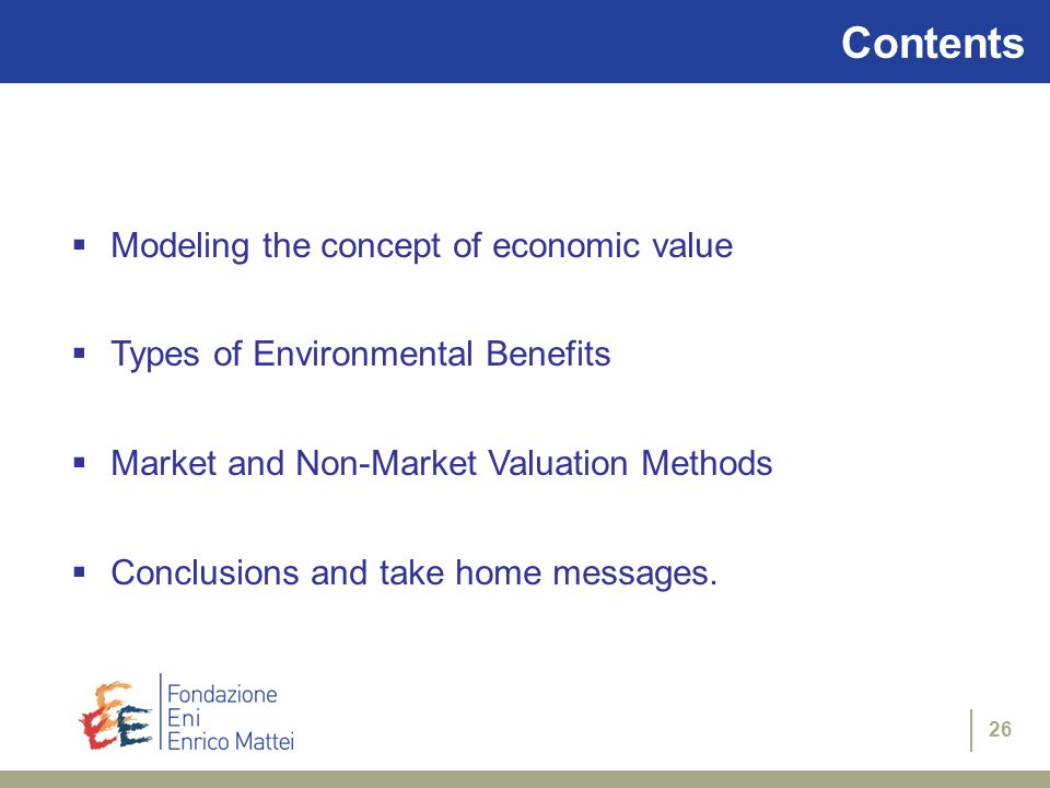 Contents Modeling the concept of economic value