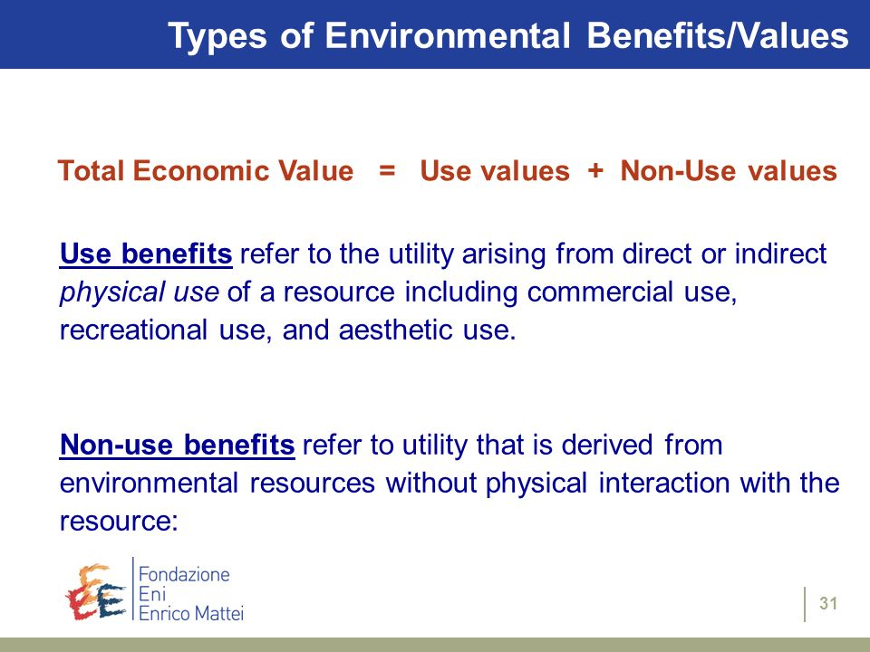 Types of Environmental Benefits/Values