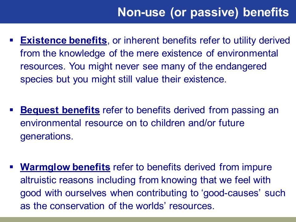 Non-use (or passive) benefits