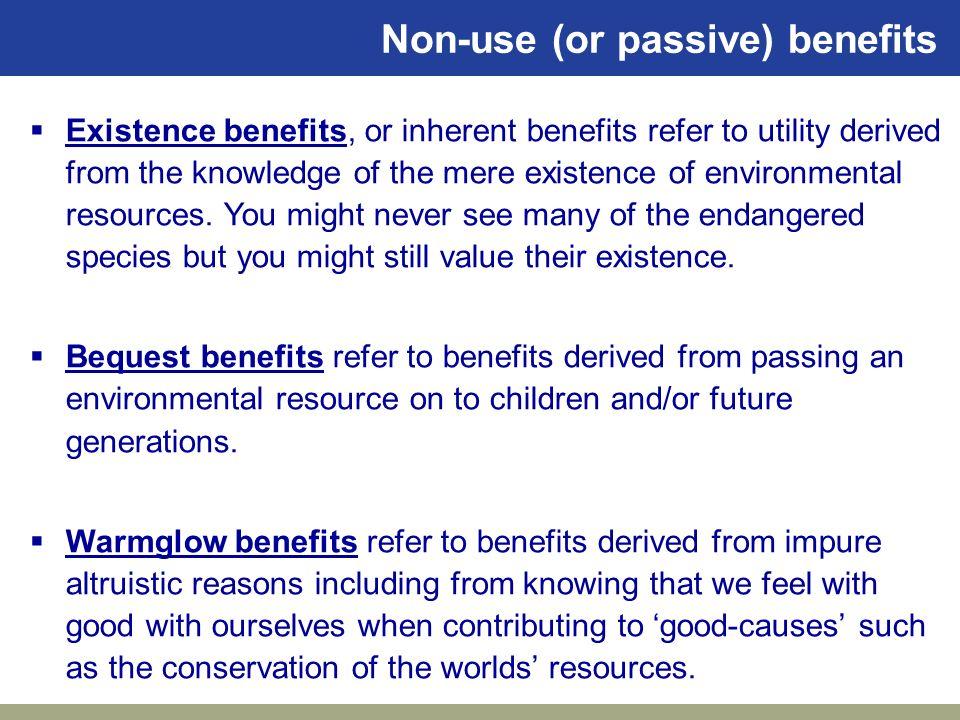Non-use (or passive) benefits