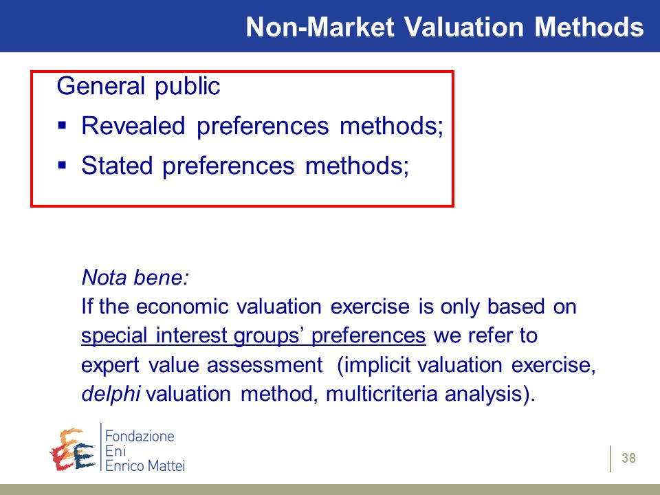 Non-Market Valuation Methods