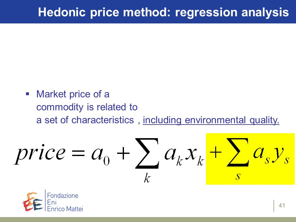 Hedonic price method: regression analysis