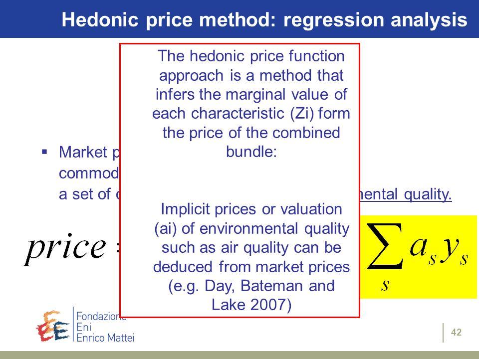 Hedonic price method: regression analysis