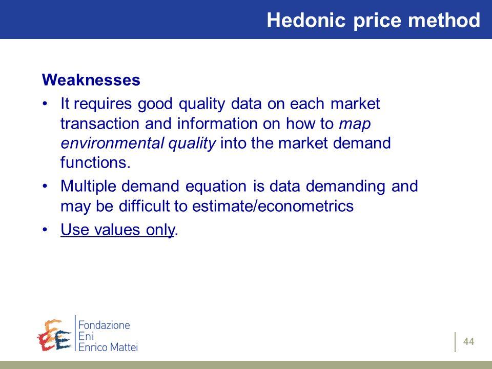 Hedonic price method Weaknesses