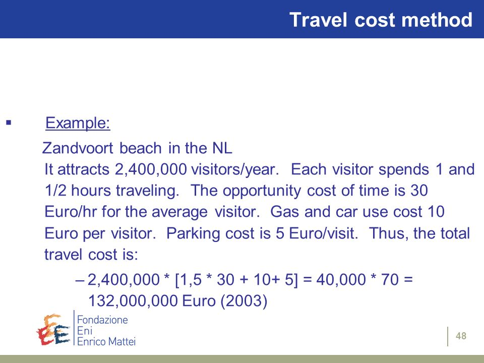 Travel cost method Example: