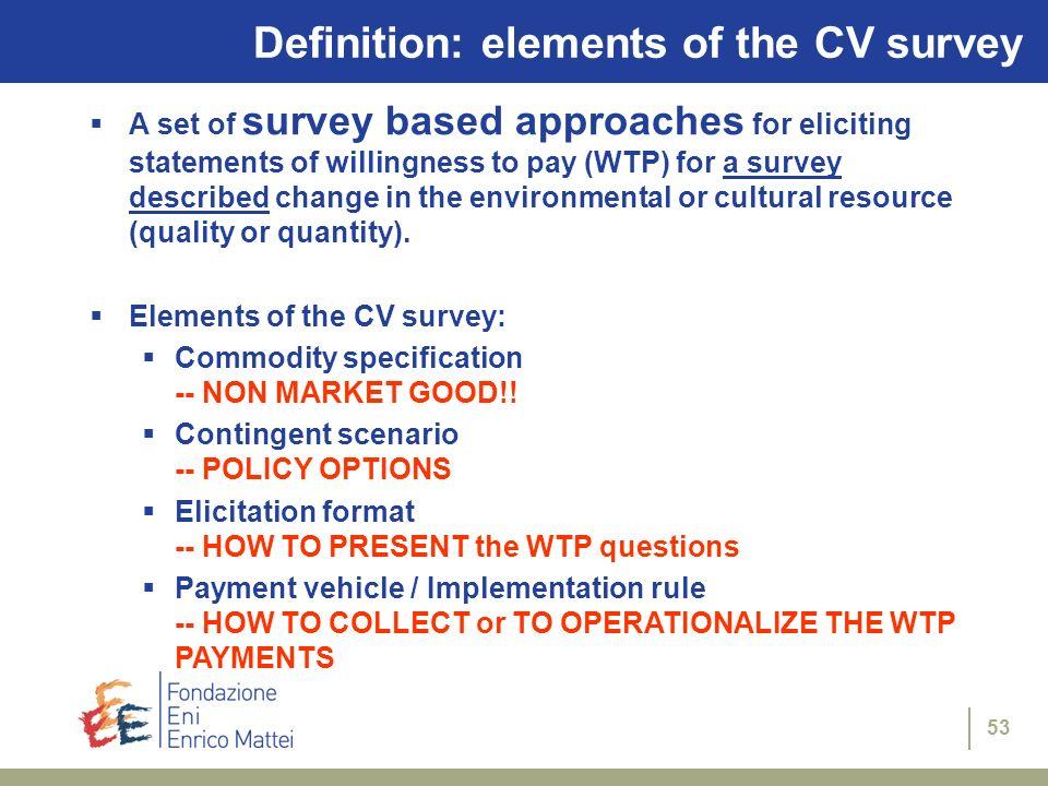 Definition: elements of the CV survey