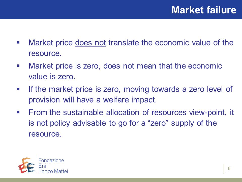 Market failure Market price does not translate the economic value of the resource.