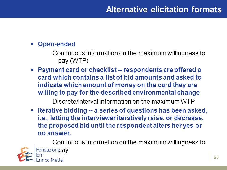 Alternative elicitation formats