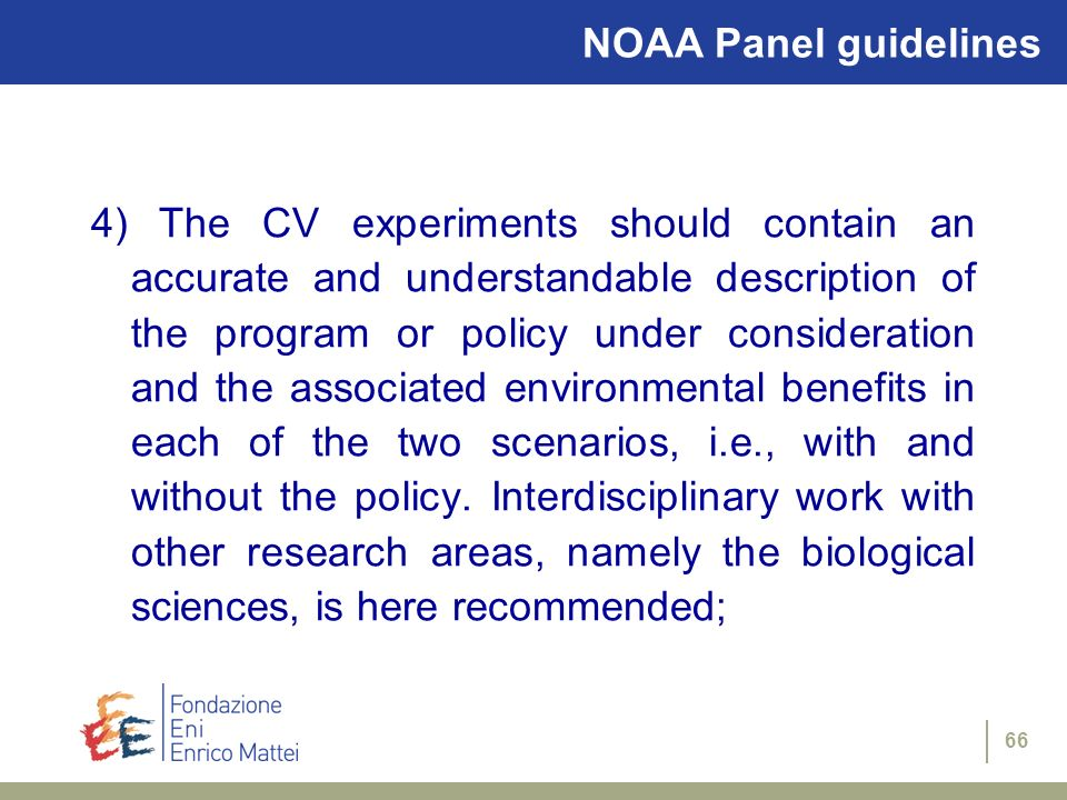 NOAA Panel guidelines