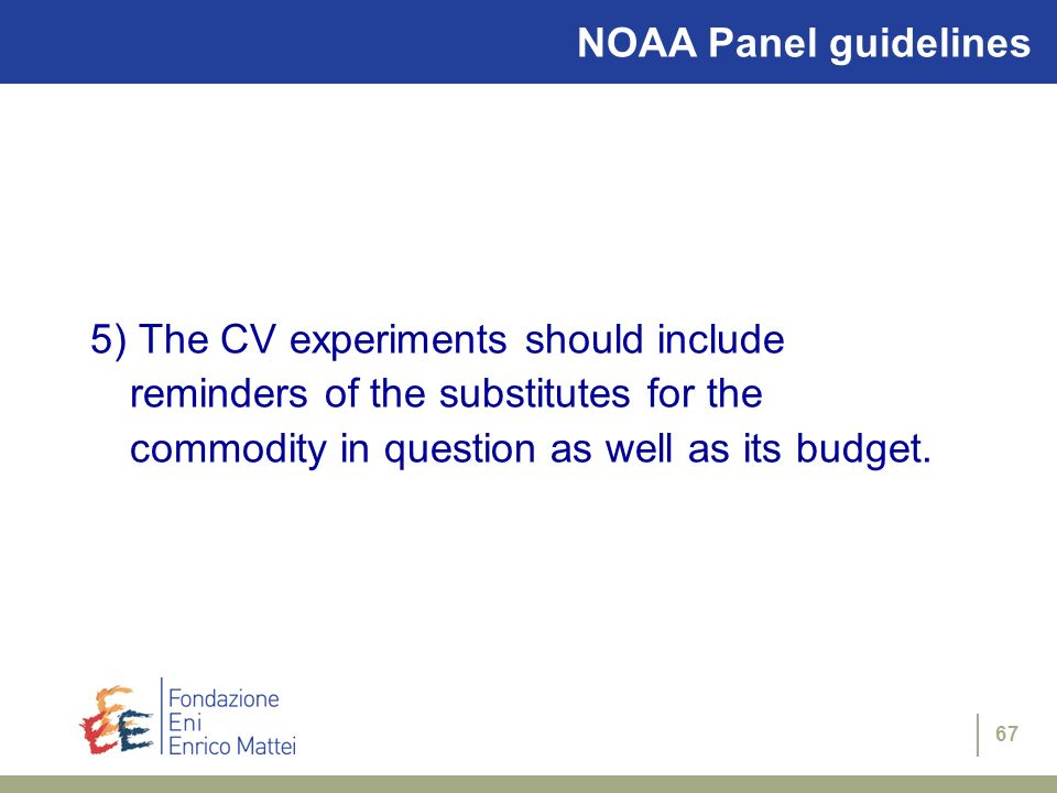 NOAA Panel guidelines 5) The CV experiments should include reminders of the substitutes for the commodity in question as well as its budget.