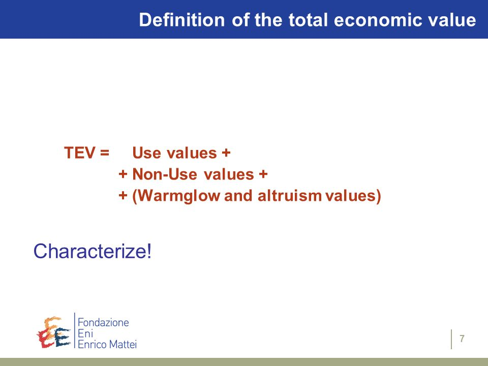 Characterize! Definition of the total economic value