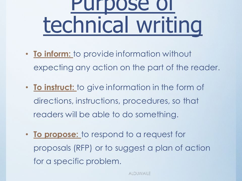 the purpose of technical writing There are numerous characteristics of technical writing that set it apart from all other types technical writing technical the sole purpose of technical.