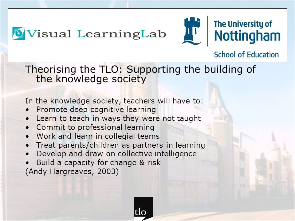 Theorising the TLO: Supporting the building of the knowledge society