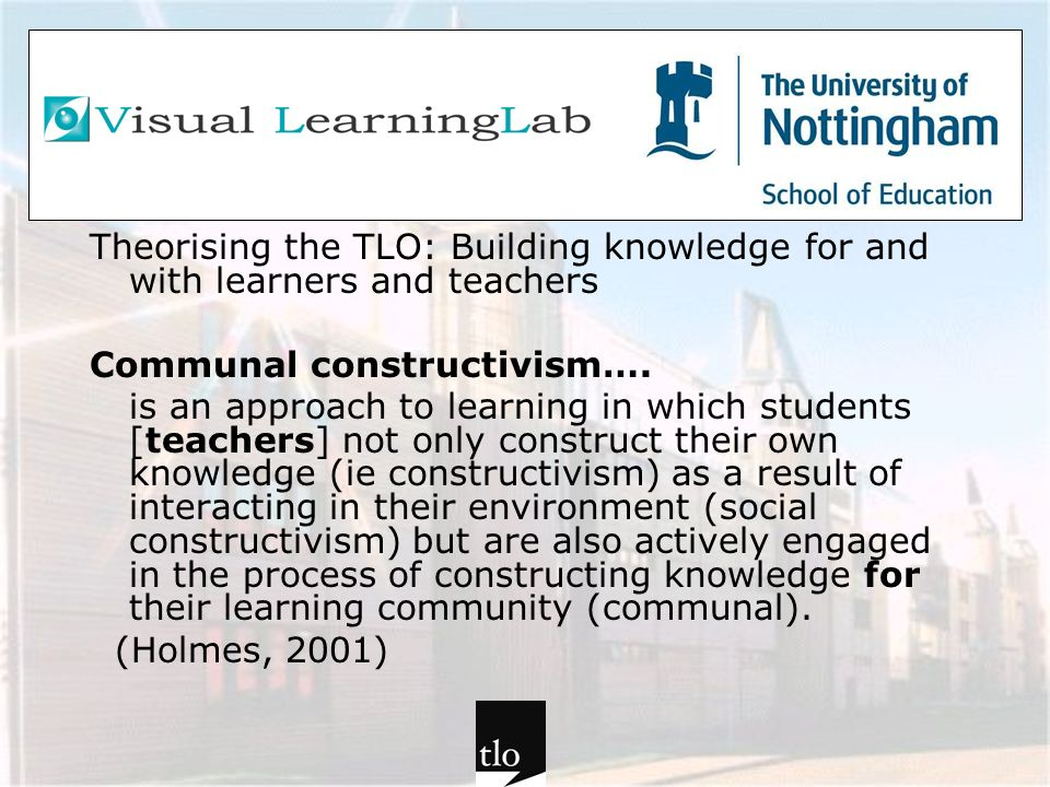 Theorising the TLO: Building knowledge for and with learners and teachers