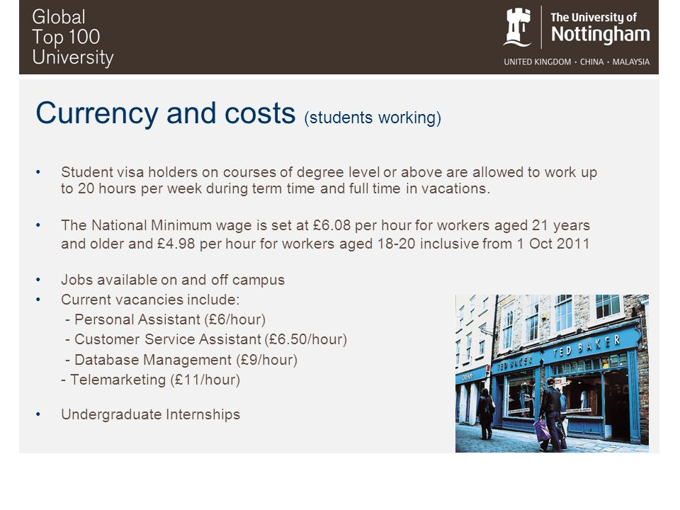 Currency and costs (students working)