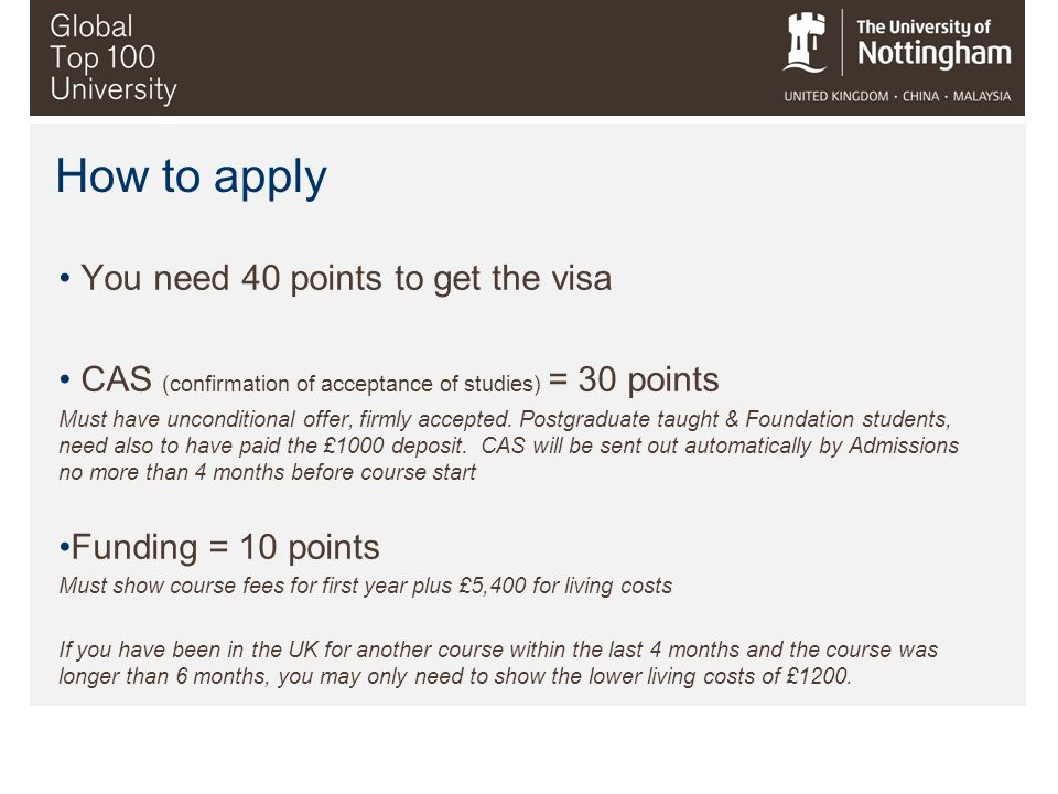 How to apply You need 40 points to get the visa