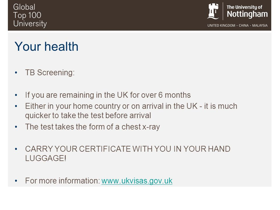 Your health TB Screening: