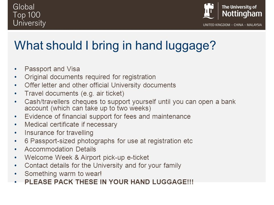 What should I bring in hand luggage