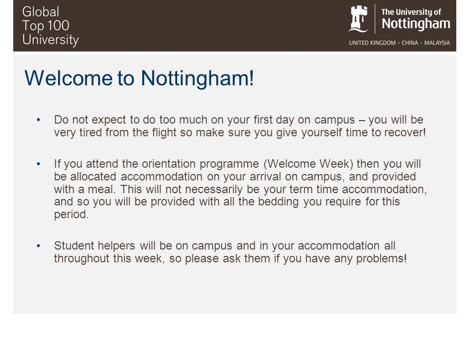 Welcome to Nottingham!