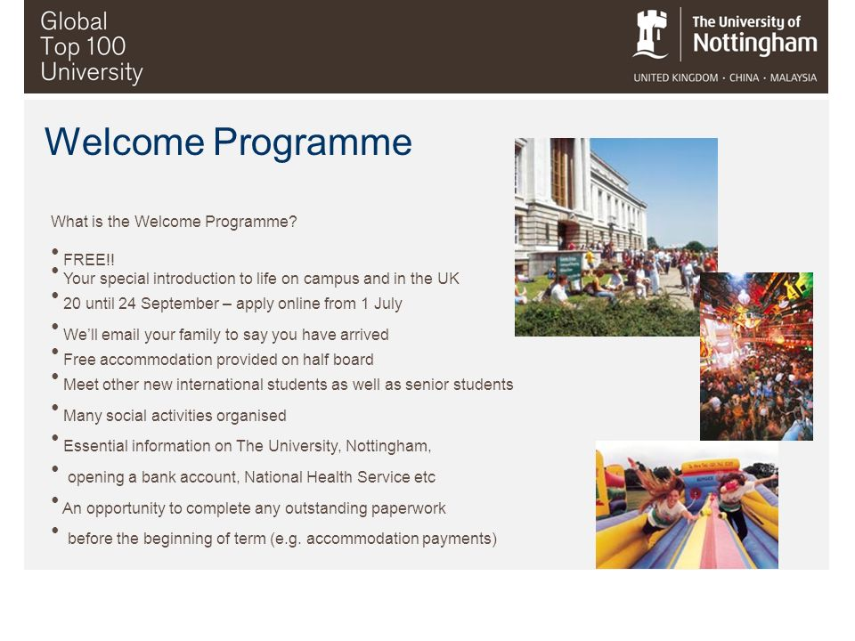 Welcome Programme What is the Welcome Programme FREE!!