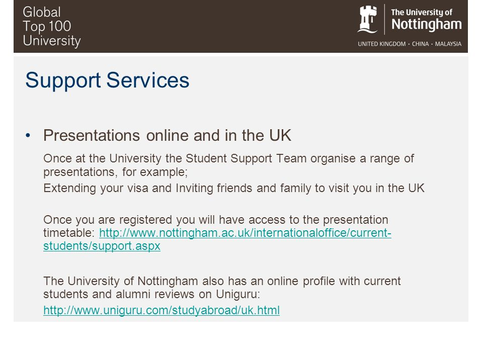 Support Services Presentations online and in the UK