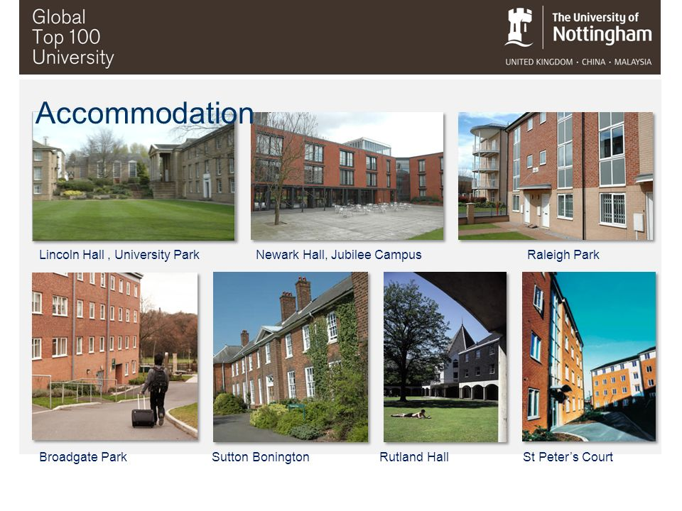 Accommodation Lincoln Hall , University Park Newark Hall, Jubilee Campus Raleigh Park.