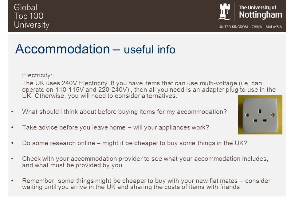Accommodation – useful info