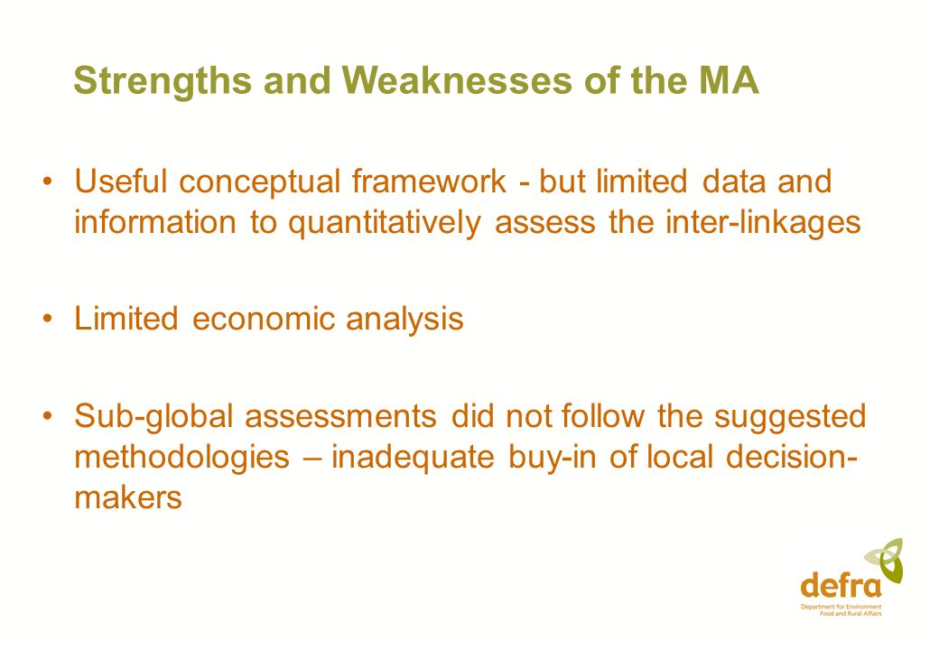 Strengths and Weaknesses of the MA