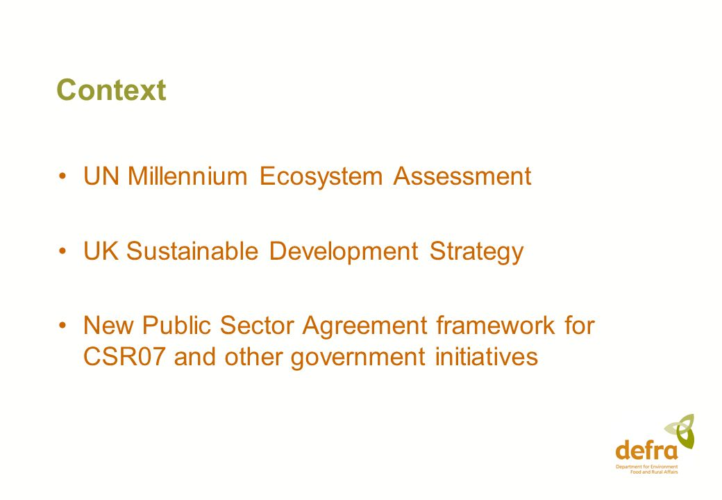 Context UN Millennium Ecosystem Assessment