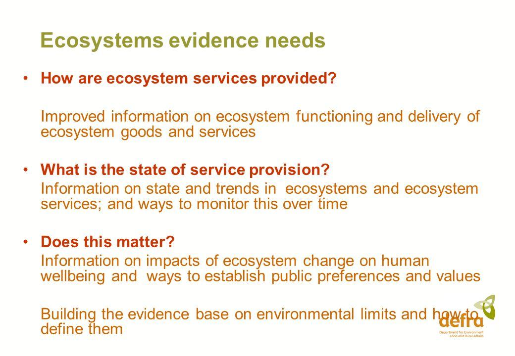 Ecosystems evidence needs