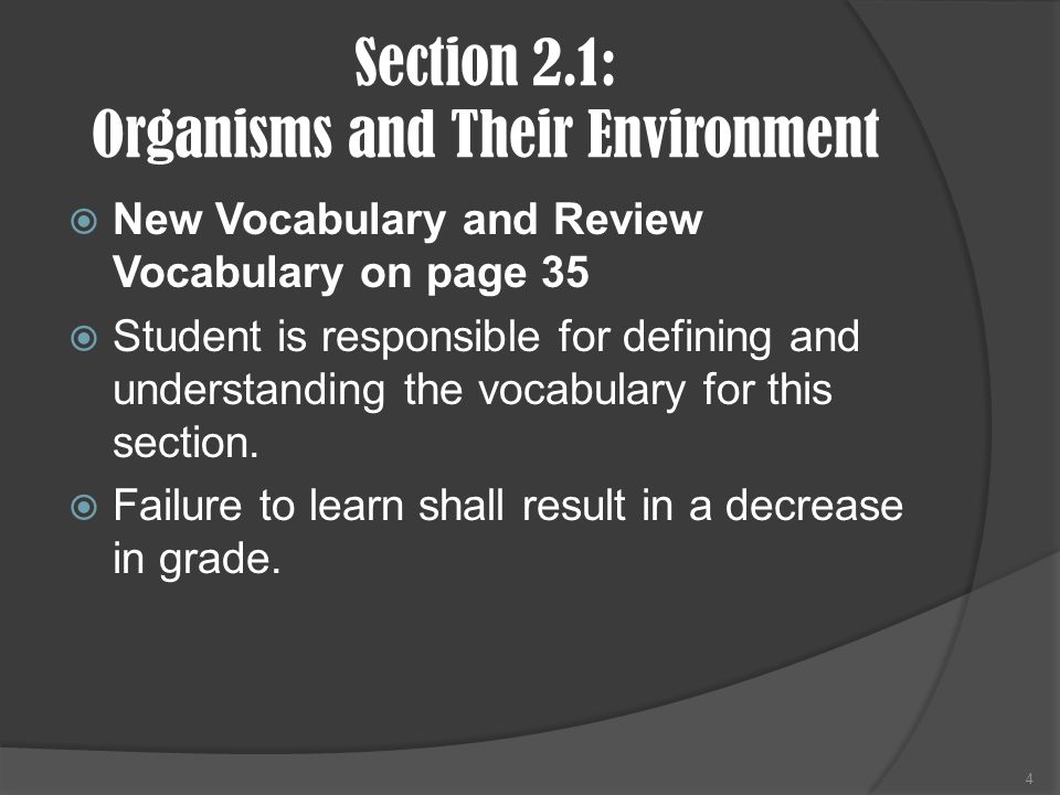 Section 2.1: Organisms and Their Environment