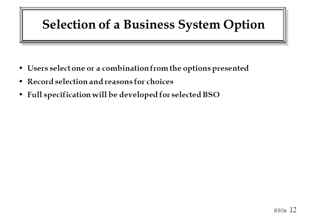 Selection of a Business System Option