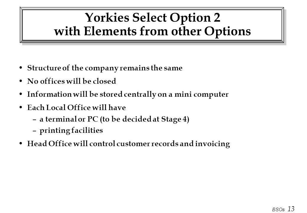 Yorkies Select Option 2 with Elements from other Options
