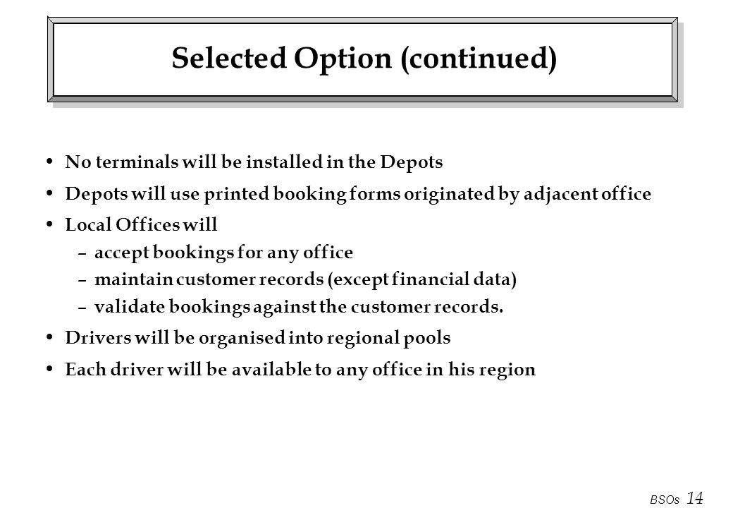 Selected Option (continued)
