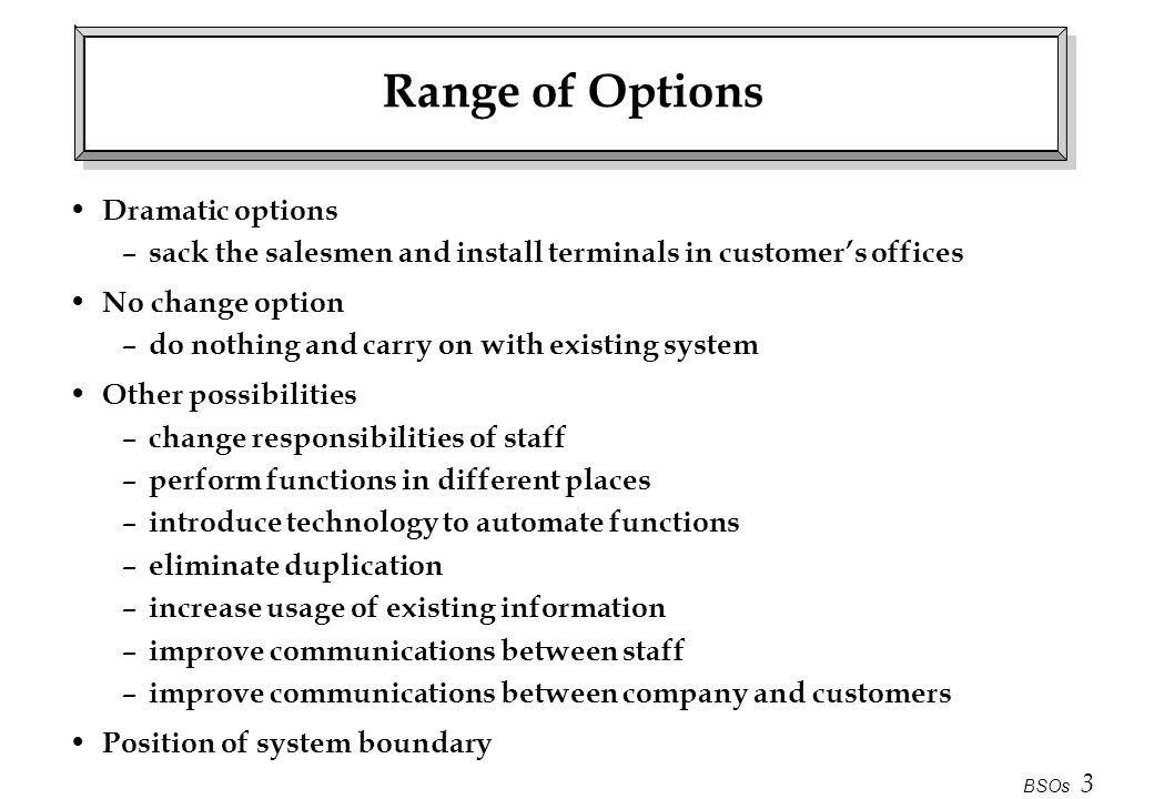 Range of Options Dramatic options