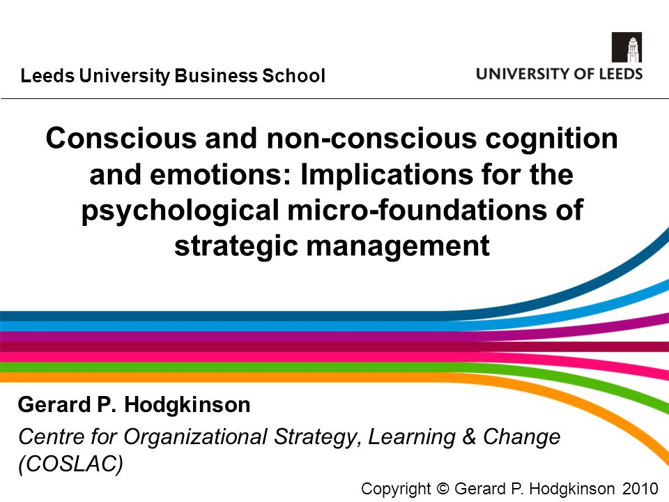 Conscious and non-conscious cognition and emotions: Implications for the psychological micro-foundations of strategic management