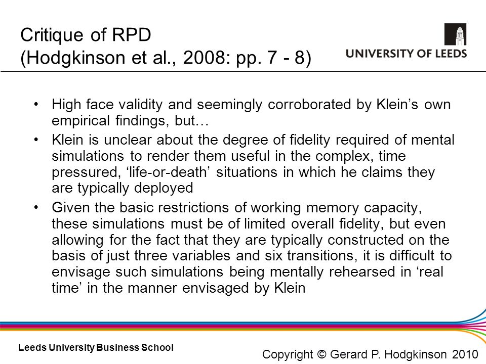 Critique of RPD (Hodgkinson et al., 2008: pp. 7 - 8)