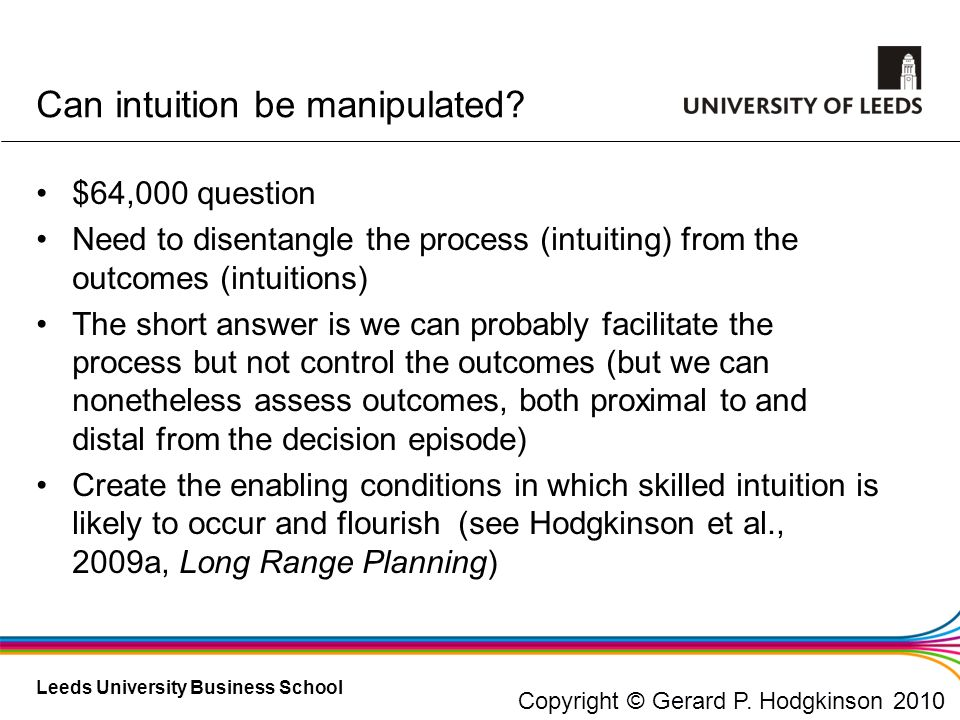 Can intuition be manipulated