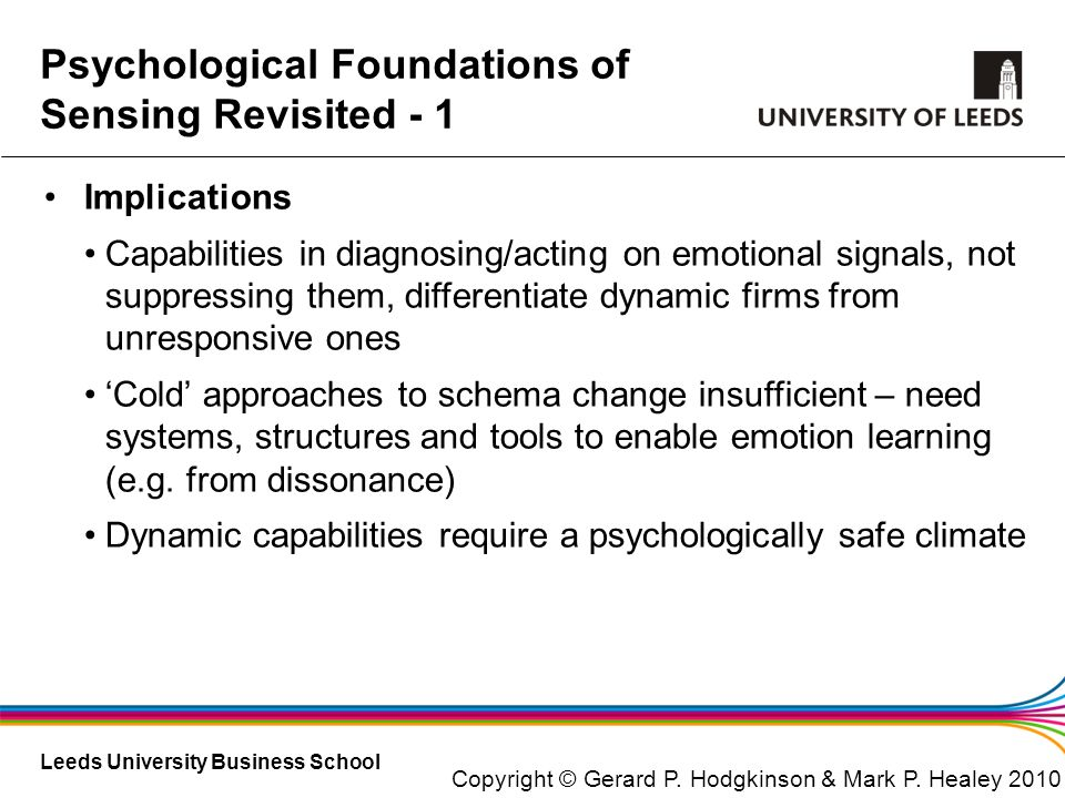 Psychological Foundations of Sensing Revisited - 1