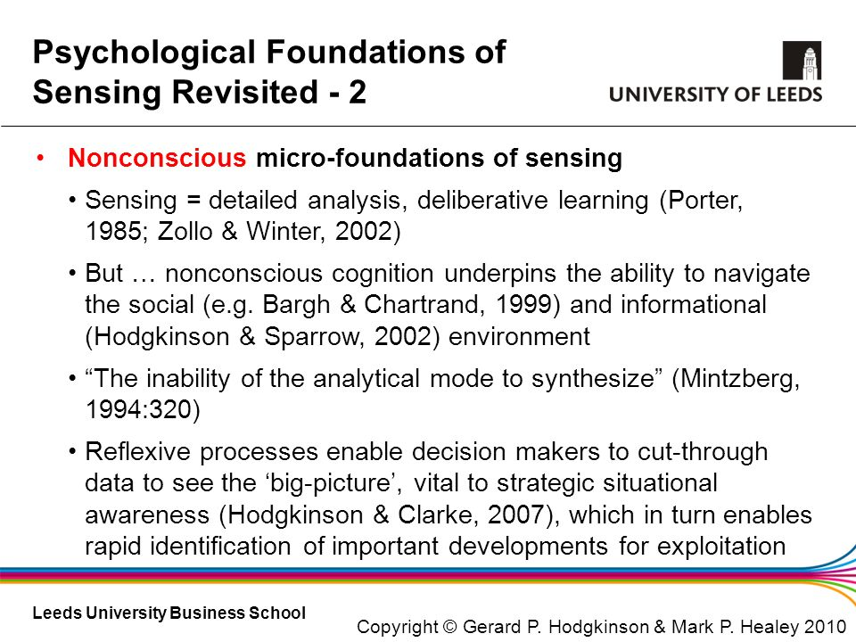 Psychological Foundations of Sensing Revisited - 2