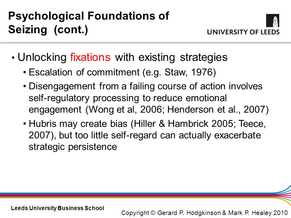 Psychological Foundations of Seizing (cont.)