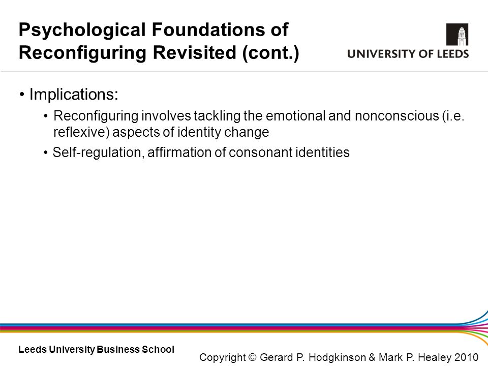 Psychological Foundations of Reconfiguring Revisited (cont.)
