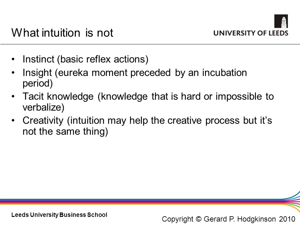 What intuition is not Instinct (basic reflex actions)