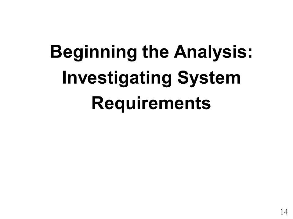 Beginning the Analysis: