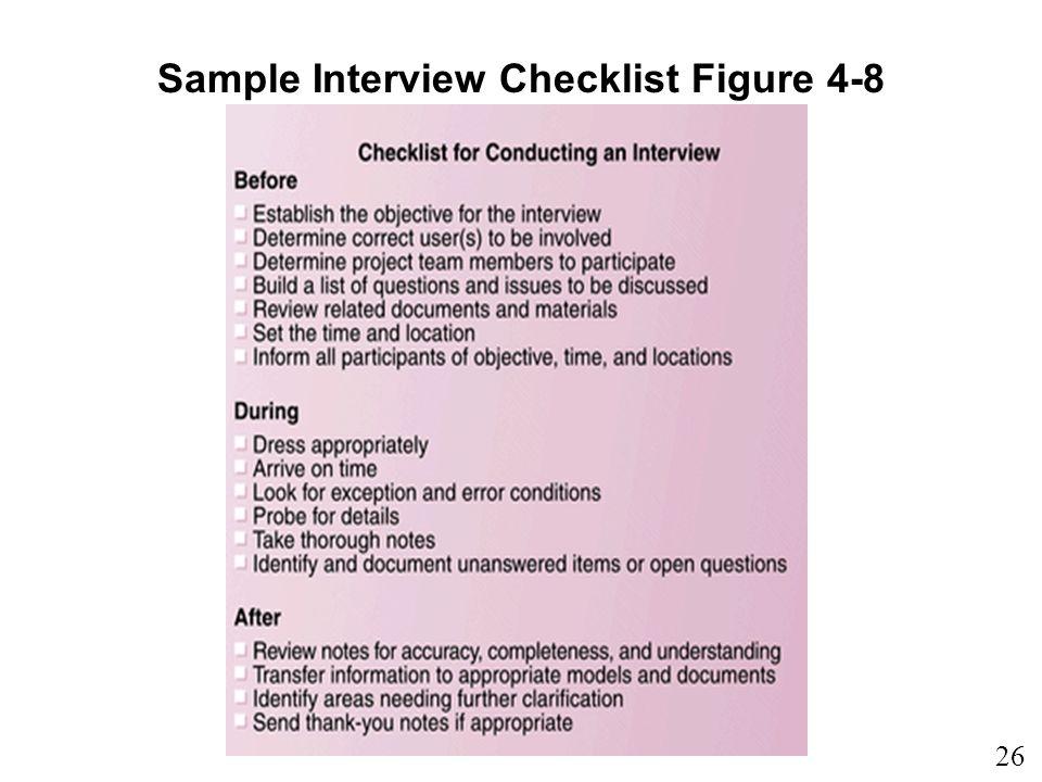 Sample Interview Checklist Figure 4-8