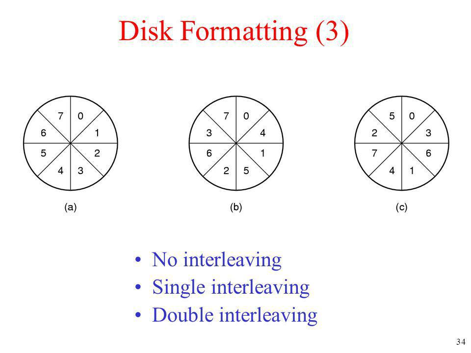 Disk Formatting (3) No interleaving Single interleaving