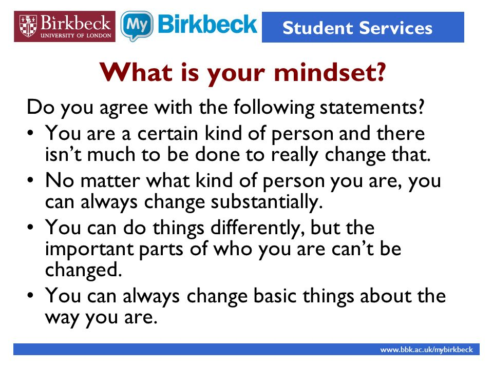 What is your mindset Do you agree with the following statements