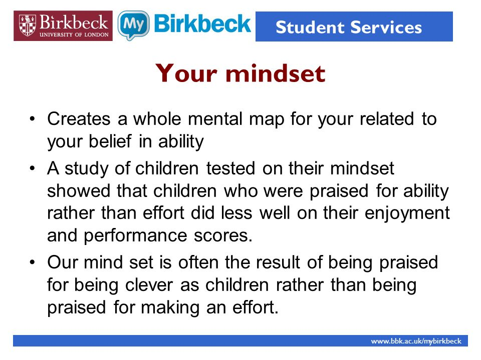 Student Services Your mindset. Creates a whole mental map for your related to your belief in ability.